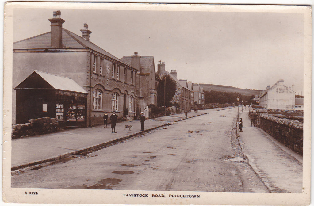 Old real photo postcard of Tavistock Road, Princetown, Devon