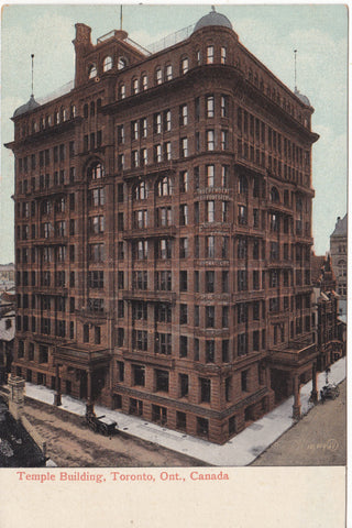 Old postcard of Temple Building, Toronto, Canada