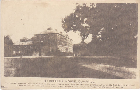 Old postcard of Terregles House, Dumfries