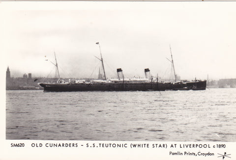 OLD CUNARDERS - SS TEUTONIC (WHITE STAR) AT LIVERPOOL c1890 - REPRODUCTION POSTCARD