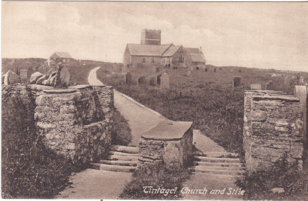 Tintagel Church and Stile, pre 1918 postcard from Cornwall