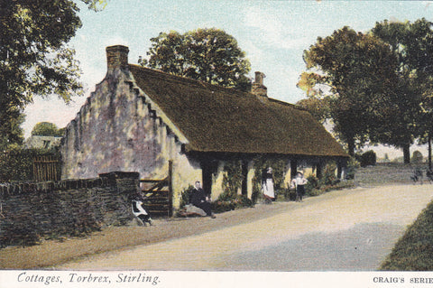Old postcard of Cottages, Torbrex, Stirling in Scotland