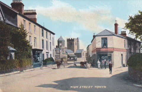 Old postcard of High Street, Towyn