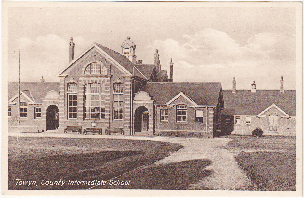 Old postcard of Towyn, County Intermediate School