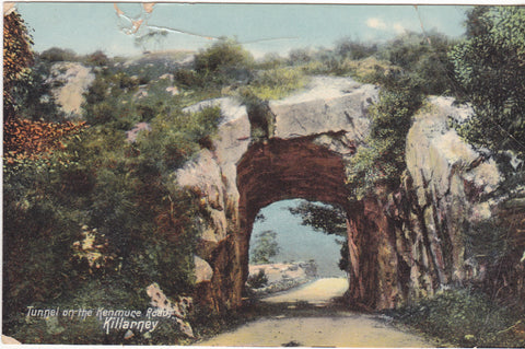 Old postcard showing the Tunnel on Kenmure Road, Killarney