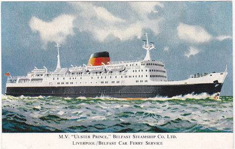 MV ULSTER PRINCE - LIVERPOOL/BELFAST CAR FERRY SERVICE POSTCARD (ref 3420/20/5)