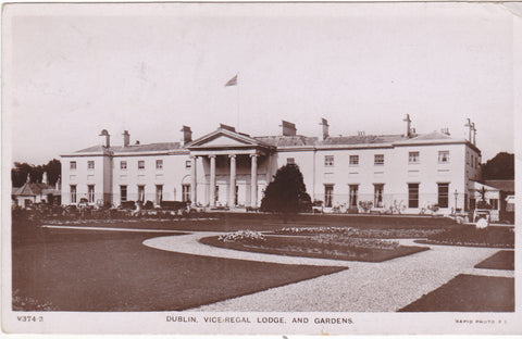 Real photo postcard of Vice Regal Lodge and Gardens, Dublin, 1911
