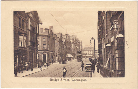 Old postcard of Bridge Street, Warrington