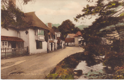 The Royal Oak Inn, Winsford, Somerset - old postcard