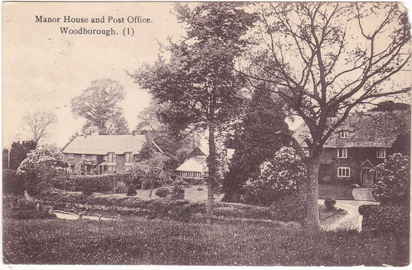MANOR HOUSE AND POST OFFICE, WOODBOROUGH - WILTSHIRE POSTCARD