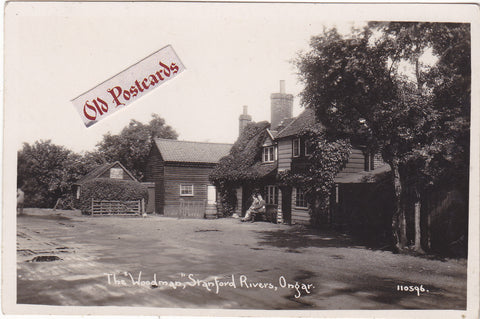 THE WOODMAN, STANFORD RIVERS, ONGAR - REAL PHOTO POSTCARD