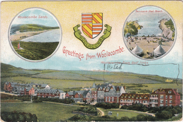 GREETINGS FROM WOOLACOMBE - EARLY 1900s HERALDIC POSTCARD