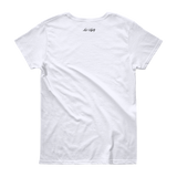 Women's White T-Shirt with black outer tag example.