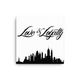 """Love & Loyalty Skyline"" Wall Canvas 16x16"