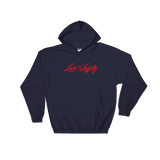 "Navy hoodie with red ""Love & Loyalty"" Logo."
