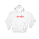 "White hoodie with red ""Love & Loyalty"" Logo."