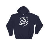 "Navy Hoodie with large white ""Infamous Dragon"" Logo"