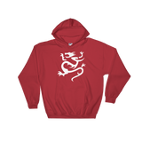 "Red Hoodie with large white ""Infamous Dragon"" Logo"