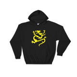 "Black Hoodie with large yellow ""Infamous Dragon"" Logo"