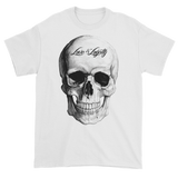 White T-Shirt with large white Skull Graphic.