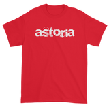 "Red T-Shirt with ""Astoria"" written in white with back Love & Loyalty Logo outer tag"