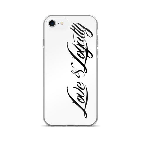 White iPhone 7 Case with the Black Love & Loyalty Logo.
