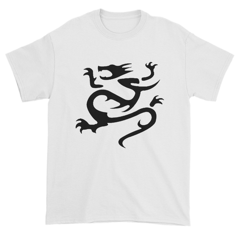 "White T-Shirt with black infamous dragon logo on the front and a smaller dragon with ""Infamous"" written above."