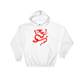 "White Hoodie with large Red ""Infamous Dragon"" Logo."