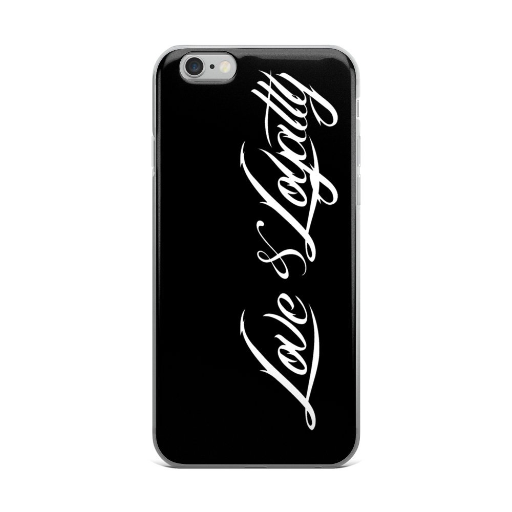 Black iphone case with the white love loyalty logo