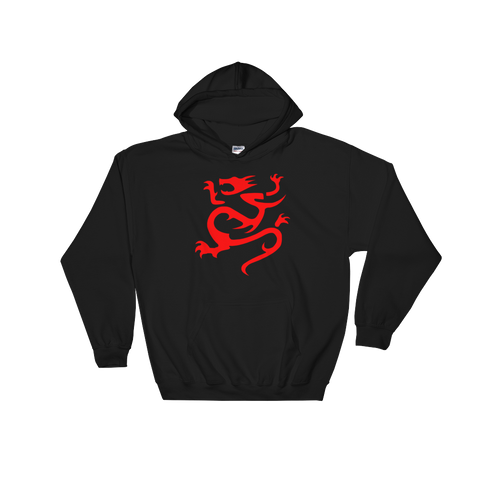 "Navy Hoodie with large Red ""Infamous Dragon"" Logo."