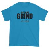 "Sapphire T-shirt with""Rise and Grind"" written in black above the Love & Loyalty Logo."