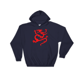 "Black Hoodie with large Red ""Infamous Dragon"" Logo."