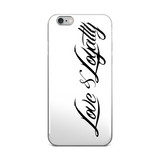 White iPhone Case with the Black Love & Loyalty Logo. - iPhone 5/5s/Se, 6/6s, 6/6s Plus Case