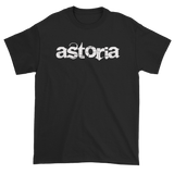 "Black T-Shirt with ""Astoria"" written in white with back Love & Loyalty Logo outer tag"