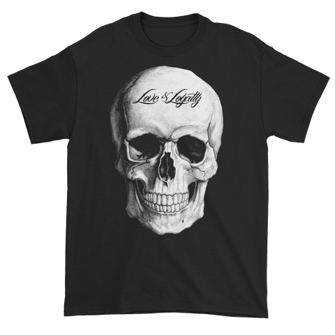 Black T-Shirt with large white Skull Graphic.