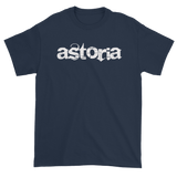 "Navy T-Shirt with ""Astoria"" written in white with back Love & Loyalty Logo outer tag"