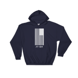 Navy Hoodie with White Flag graphic above the Love & Loyalty Logo.