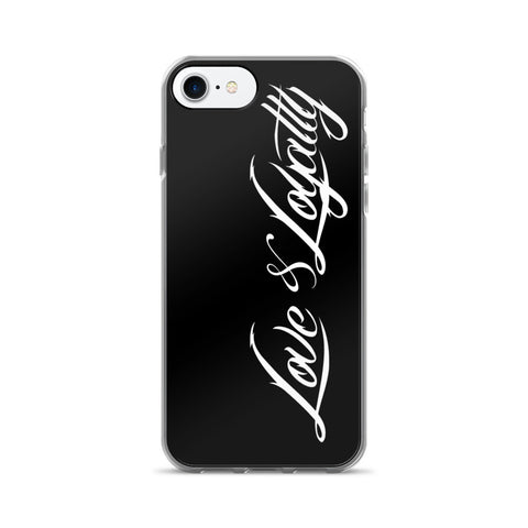 Black iPhone 7 Case with the White Love & Loyalty Logo.