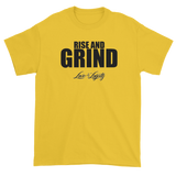 "Yellow T-shirt with""Rise and Grind"" written in black above the Love & Loyalty Logo."