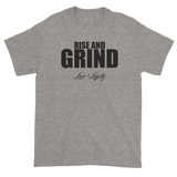"Sport Grey T-shirt with""Rise and Grind"" written in black above the Love & Loyalty Logo."