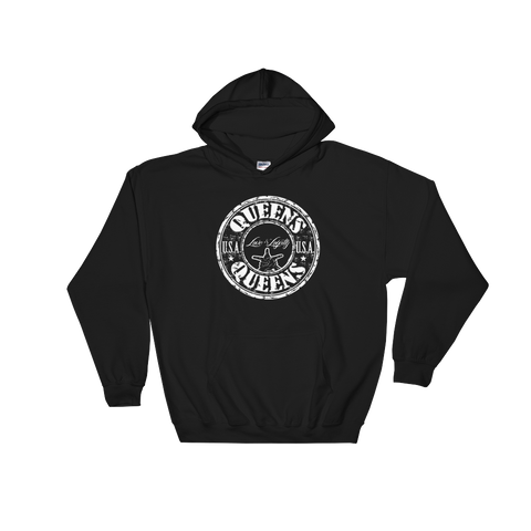 "Black Hoodie with White ""Queens"" Logo."