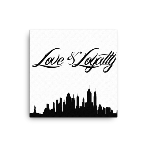 """Love & Loyalty Skyline"" Wall Canvas 12x12"