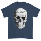 Navy T-Shirt with large white Skull Graphic.