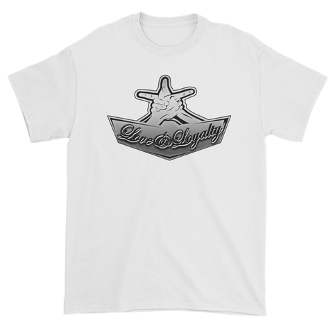 "White Premium T-shirt with silver Love & Loyalty ""Hand Signs"" Logo"