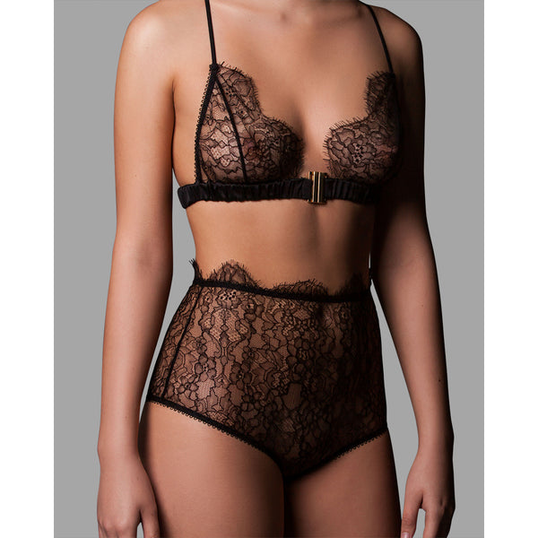 Mina Lingerie Ada Black Lace High-Waist Briefs - Ellen Terrie