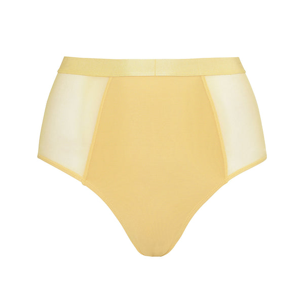 Moons & Junes yellow sheer mesh Ewe high waist brief