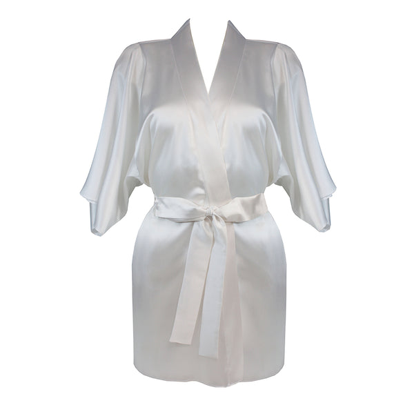 Fleur Of England Colette White Silk Robe Luxury Bridal Lingerie - Ellen Terrie