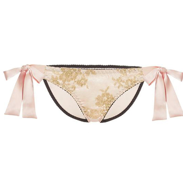 Gilda & Pearl Harlow Blush Pink Gold Lace Silk Tie-Side Briefs - Ellen Terrie