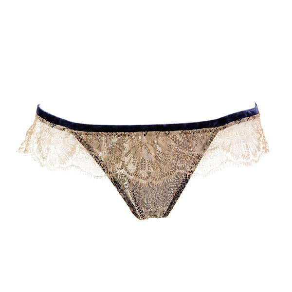 Nina And The Wolf Gelsomino Gold Navy Lace Thong - Ellen Terrie