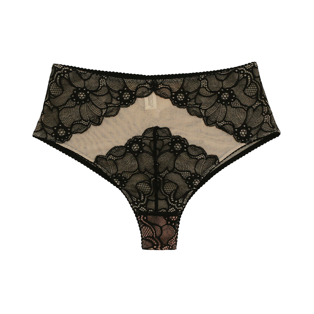 Underprotection Victoria Black Nude High Waist Hipster Briefs - Ellen Terrie